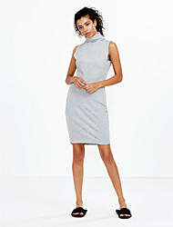 Women's Sexy / Casual Knitted High Collar Solid Bodycon Short Sleeveless Dress , Turtleneck Knee-length Cotton