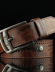 cheap -Men's Alloy Waist Belt,Brown Camel Vintage Casual Cut Out Rivet