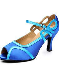 Dámské Latina Koženka Sandály Tenisky Profesionální Přezka Kačenka Modrá 7.5cm Obyčejné