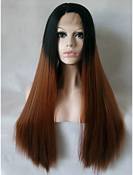 cheap -Two Tones Ombre Brown Synthetic Lace Front Wigs Long Straight Heat Resistant Fiber Hair For Women Black Roots Wig