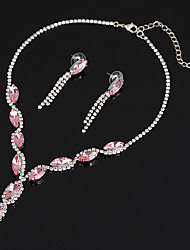 cheap -Women's Synthetic Aquamarine / Synthetic Ruby Jewelry Set - Zircon Heart Luxury, Fashion, Elegant Include Necklace Blue / Pink For Wedding / Party / Anniversary / Thank You / Daily