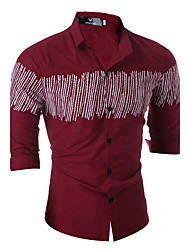 billige -Klassisk krave Herre - Ruder Bomuld Kineseri Skjorte / Langærmet