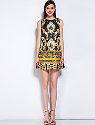 MARY YAN&YU Women's Daily Going out Beach Vintage Street chic A Line Dress,Floral Round Neck Above Knee Sleeveless Polyester Spandex Spring Summer
