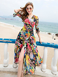 cheap -Women's Beach Swing Dress,Geometric V Neck Maxi Polyester Summer High Rise Inelastic Thin