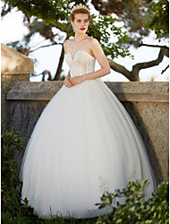 Ball Gown Sweetheart Floor Length Tulle Wedding Dress with Beading Appliques by LAN TING BRIDE®