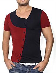 Tee-shirt Homme,Couleur Pleine Décontracté / Quotidien Chinoiserie Manches Courtes Col Arrondi Coton