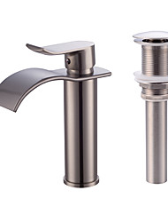 cheap -Faucet Set - Waterfall Nickel Brushed Centerset Single Handle One Hole