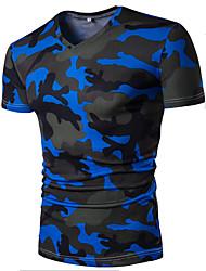 Herren Bedruckt Tarnfarben Einfach Aktiv Lässig/Alltäglich T-shirt,V-Ausschnitt Sommer Kurzarm Baumwolle Dünn