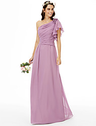 Sheath / Column One Shoulder Floor Length Chiffon Bridesmaid Dress with Beading Flower(s) Side-Draped by LAN TING BRIDE®