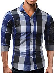 cheap -Men's Cotton Shirt - Check / Long Sleeve