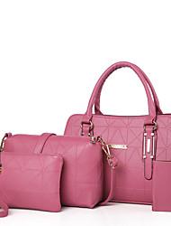 baratos -Mulheres Bolsas PU Conjuntos de saco Ziper Preto / Vermelho / Rosa