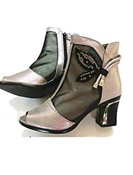 cheap -Women's Heels Modern/Contemporary Tulle Spring Summer Casual Chunky Heel Black Gold 2in-2 3/4in