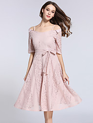 cheap -Women's Vintage / Street chic / Sophisticated A Line Dress - Patchwork Vintage Style / Retro V Neck