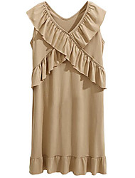 cheap -Women's Loose Dress - Solid Colored V Neck