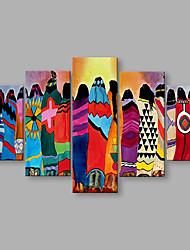 economico -Dipinta a mano Astratto Astratto Cinque Pannelli Tela Hang-Dipinto ad olio For Decorazioni per la casa