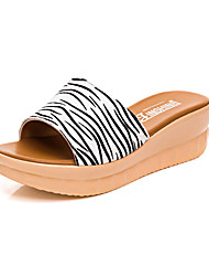 cheap -Women's Sandals Casual Leather Summer Daily Wedge Heel Pool Black 2in-2 3/4in