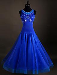 Devrions-nous des robes de danse de salon de danse, des cristaux d'organza à l'élasthanne et des strass