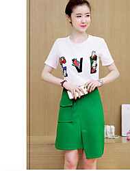 T-shirt Vestiti Completi abbigliamento Da donna Estate Rotonda Manica corta Media elasticità