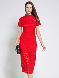 cheap -SUOQI Women's Vintage Chinoiserie Sheath Lace Dress - Solid Colored, Lace Retro Stand