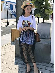 T-shirt Gonna Completi abbigliamento Da donna Casual Vintage Semplice Estate,Tinta unita Rotonda Manica corta Media elasticità