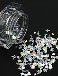 cheap -1 Bottle New Fashion DIY Beauty Mixed Lovely Lucky Star/Moon/Heart Design Nail Glitter Silver Paillette Laser Sequins Gorgeous Decoration LX13