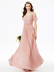 A-Line Spaghetti Straps Floor Length Chiffon Bridesmaid Dress with Criss Cross Ruching Pleats by LAN TING BRIDE®
