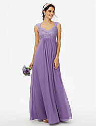 cheap -Sheath / Column Queen Anne Floor Length Chiffon Corded Lace Bridesmaid Dress with Lace Pleats by LAN TING BRIDE®