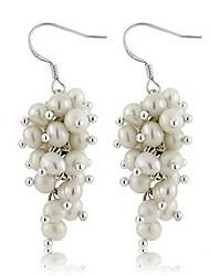 abordables -Mujer Largo Pendiente - Perla, Plata de ley Diseño Único, Moda, Euramerican Blanco Para Boda / Fiesta / Ocasión especial
