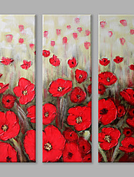 cheap -Hand-Painted Floral/Botanical Vertical Panoramic, Flower Modern/Contemporary Canvas Oil Painting Home Decoration Three Panels