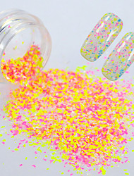 cheap -0.2g/bottle Round Bottle Summer Hot Fashion Nail Art Irregular Paillette Candy Color Sweet Style Beautiful Snowflake Flakes  DIY Charm Decoration XH02