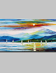 Large Hand Painted Modern Abstract Knife Sea Sail Oil Painting On Canvas Wall Picture For Home Decoration Ready To Hang