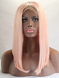 cheap -Light Pink Color Bob Straight Lace Front Wig With Baby Hair Heat Resistant Synthetic Hair Wig For Women