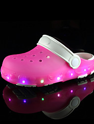 cheap -Girls' Sandals PVC Summer Fall LED Flat Heel Navy Blue Blushing Pink Light Blue Flat