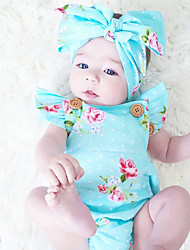 cheap -Baby Girls' Vintage Fashion One-Pieces, Cotton Summer Floral Sleeveless Blue