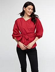 Women's Off The Shoulder Casual/Daily Sexy Winter ShirtPlaid V Neck Long Sleeve Blue / Red / White Cotton Medium