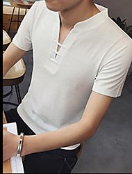 T-shirt Da uomo Da giorno Sport Festa di fine anno scolastico Appuntamento Casual Semplice Attivo Stoffe orientali Tinta unita A V Cotone