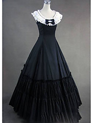 cheap -Victorian Rococo Costume Women's Dress Masquerade Party Costume Black Vintage Cosplay Other Cotton Sleeveless Cap Floor Length
