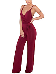 cheap -Women's Daily Club Holiday Casual Sexy Street chic Solid Color Fashion Strap Jumpsuits,Slim Wide Leg Sleeveless Spring Summer Polyster