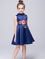 cheap -A-Line Knee Length Flower Girl Dress - Stretch Satin Sleeveless High Neck with Applique by Bflower