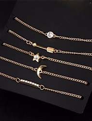 cheap -5 pcs/set Vintage Gold Color Crystal Moon Bracelet Set Punk Key Letter V Bracelets Love Moon Bijoux Jewelry Gifts