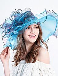 abordables -Femme Tulle Fleur Vacances Bob Capeline Chapeau de soleil - Bandes, Rayé