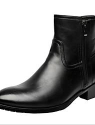billiga -Herr Novelty Shoes Läder Höst / Vinter Komfort Stövlar Promenad Korta stövlar / ankelstövlar Svart