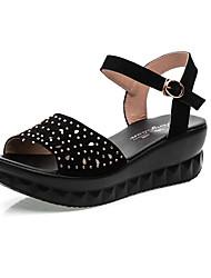Women's Sandals Club Shoes Microfibre Summer Casual Wedge Heel Pool Ruby Black 2in-2 3/4in