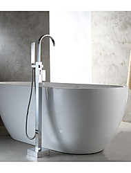 Contemporary Art Deco/Retro Modern Tub And Shower Waterfall Floor Standing Pullout Spray with  Brass Valve Single Handle Two Holes