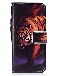 cheap -For Samsung Galaxy S8 S8 Plus Case Cover Tiger Pattern Painted PU Skin Material Card Stent Wallet Phone Case S7 S7 Edge