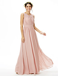 cheap -A-Line Jewel Neck Floor Length Chiffon Bridesmaid Dress with Sash / Ribbon Pleats Side Draping by LAN TING BRIDE®