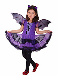 Purple Batgirl Cosplay Costume Girls Vampire Dress For Children Halloween Party Clothing For Girls New Years Christmas Bat Dress