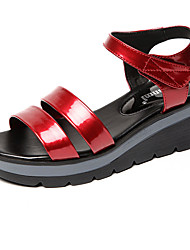 Women's Sandals Club Shoes Leather Summer Casual Wedge Heel Ruby Fuchsia Black White 2in-2 3/4in