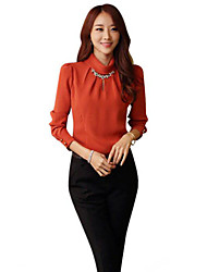 cheap -Women's Cotton Blouse - Solid Colored / Striped Beaded Turtleneck / Summer
