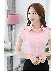 cheap -Women's Work Casual Shirt,Striped Shirt Collar Short Sleeves Special Leather Types